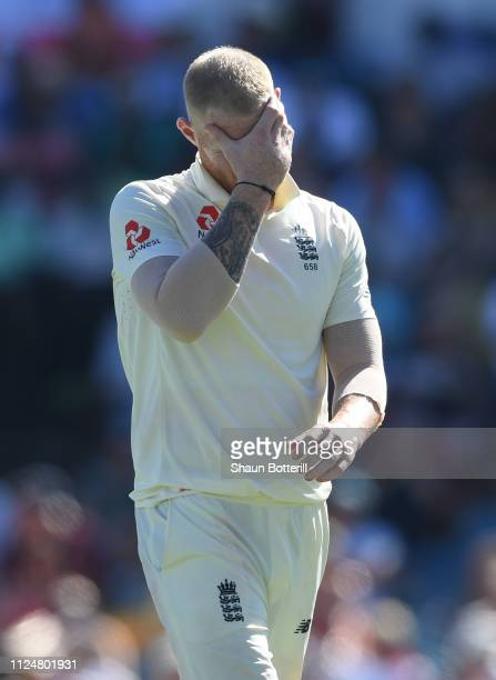 Ben Stokes of England looks frustrated during Day Three of the First Test match between England and West Indies at Kensington Oval on January 25 2019...