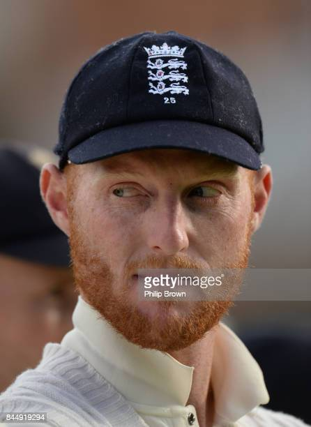 Ben Stokes of England looks on after the third cricket test between England and the West Indies at Lord's Cricket Ground on September 9 2017 in...