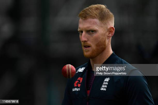 Ben Stokes of England looks on during a training session before the fourth Specsavers test match between England and Australia at Old Trafford...