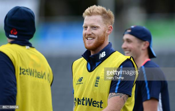 Ben Stokes of England looks on during an England Nets Session at the Brightside Ground on September 23 2017 in Bristol England
