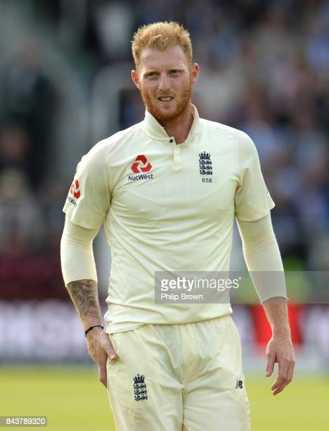 Ben Stokes of England looks on during the third cricket test between England and the West Indies at Lord's Cricket Ground on September 7 2017 in...