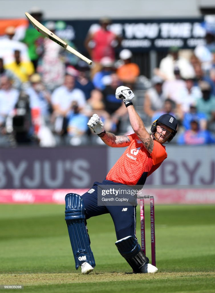 Ben Stokes of England loses grip of his bat while playing a shot during the 3rd Vitality International T20 match between England and India at The Brightside Ground on July 8, 2018 in Bristol, England.