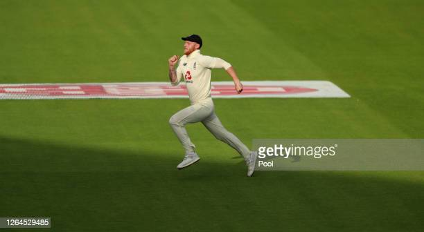 Ben Stokes of England makes chase during Day Three of the 1st #RaiseTheBat Test Match between England and Pakistan at Emirates Old Trafford on August...