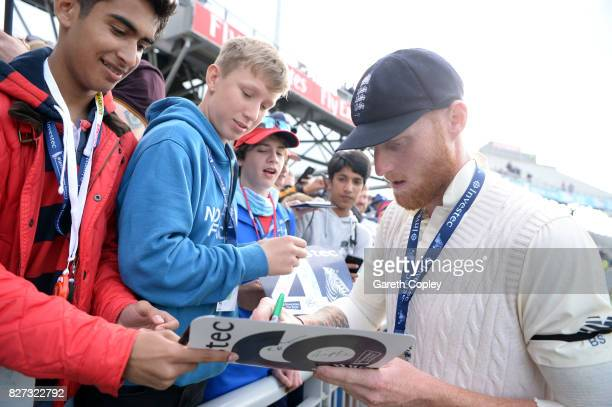 Ben Stokes of England meets fans after winning the Investec Test series between England and South Africa at Old Trafford on August 7 2017 in...