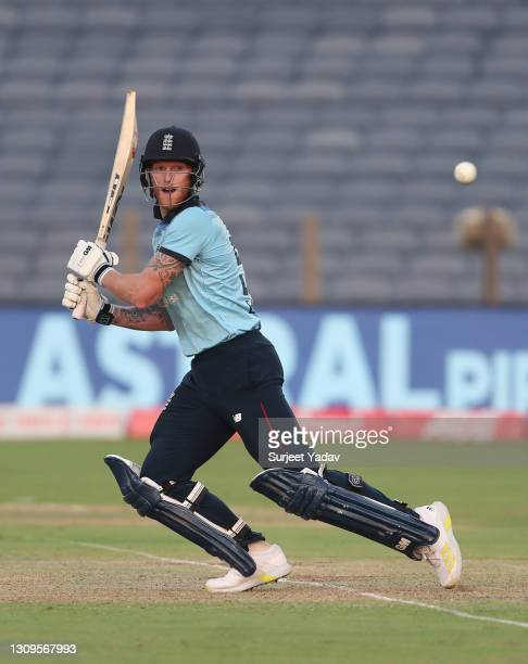 Ben Stokes of England plays a cut shot during the 3rd One Day International match between India and England at MCA Stadium on March 28, 2021 in Pune,...