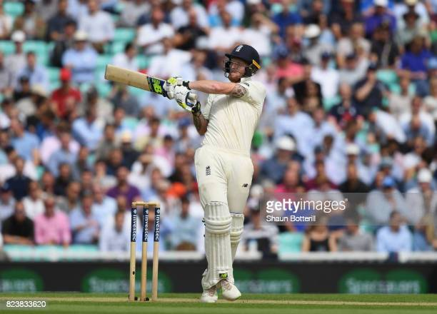 Ben Stokes of England plays a shot during day two of the 3rd Investec Test match between England and South Africa at The Kia Oval on July 28 2017 in...