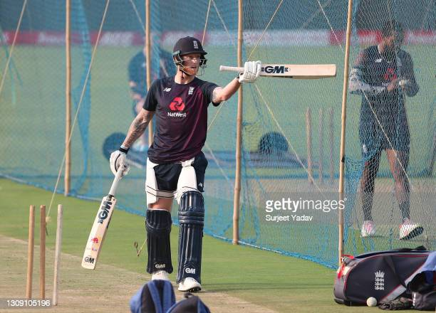 Ben Stokes of England prepares to bat during a England Net Session at Maharashtra Cricket Association Stadium on March 25, 2021 in Pune, India.