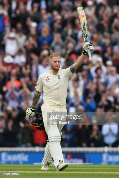 Ben Stokes of England reaches his 100 during day two of the 3rd Investec Test match between England and South Africa at The Kia Oval on July 28 2017...