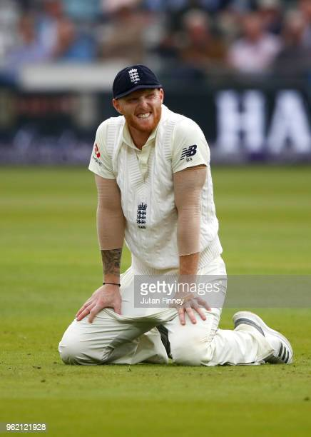 Ben Stokes of England reacts after a dropped catch off Mark Wood's bowling during day one of the 1st Test between England and Pakistan at Lord's...