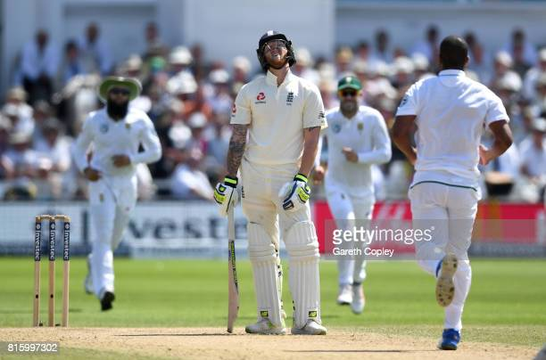 Ben Stokes of England reacts after being caught and bowled by Vernon Philander of South Africa during day four of the 2nd Investec Test match between...