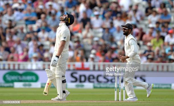 Ben Stokes of England reacts after being dismissed during the 1st Specsavers Test Match between England and India at Edgbaston on August 1 2018 in...