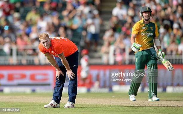 Ben Stokes of England reacts after bowling to South Africa captain AB de Villiers during the 2nd KFC T20 International match between South Africa and...