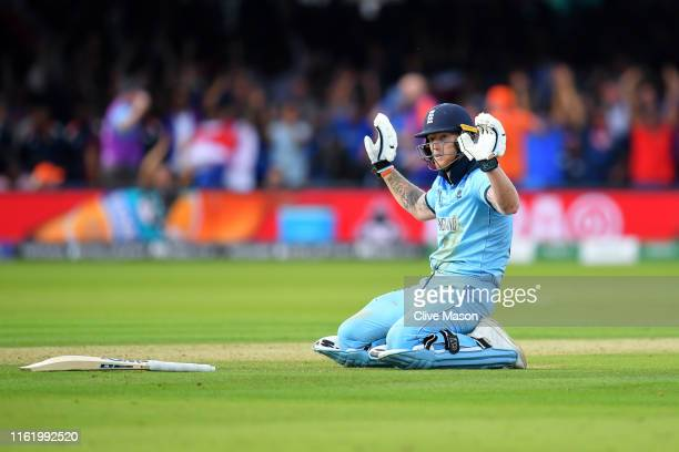 Ben Stokes of England reacts after diving to make his ground during the Final of the ICC Cricket World Cup 2019 between New Zealand and England at...