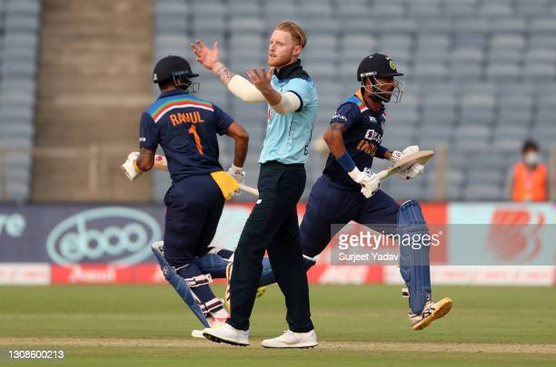 Ben Stokes of England reacts as KL Rahul and Krunal Pandya of India score runs during 1st One Day International between India and England at MCA...