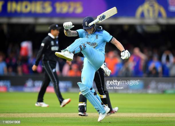 Ben Stokes of England reacts at the end of the innings and before the commencement of the super over during the Final of the ICC Cricket World Cup...