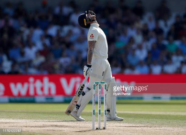 Ben Stokes of England reacts during day four of the 3rd Specsavers Ashes Test match between England and Australia at Headingley on August 25 2019 in...