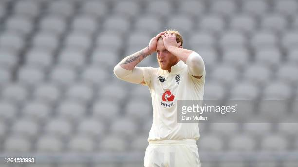 Ben Stokes of England reacts during Day Three of the 1st #RaiseTheBat Test Match between England and Pakistan at Emirates Old Trafford on August 07...