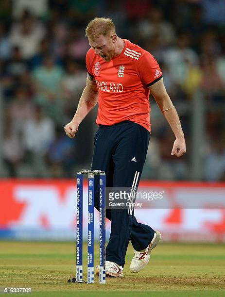 Ben Stokes of England reacts in frustation after bowling during the ICC World Twenty20 India 2016 Super 10s Group 1 match between South Africa and...