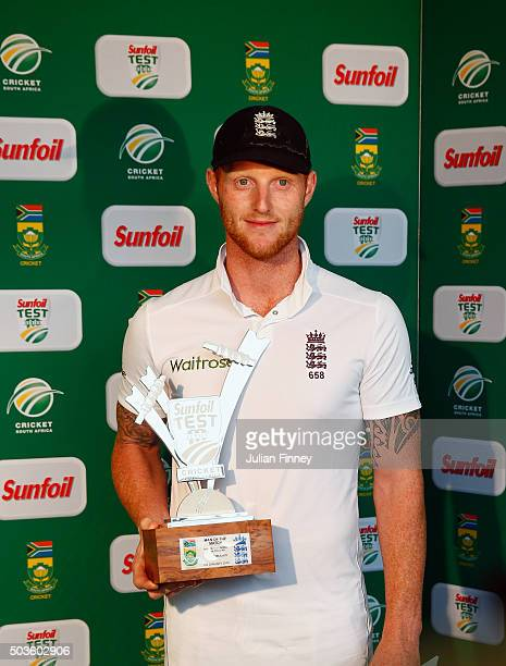 Ben Stokes of England receives the man of the match during day five of the 2nd Test at Newlands Stadium on January 6 2016 in Cape Town South Africa