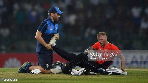 Ben Stokes of England receives treatment during the 5th One Day International match between Sri Lanka and England at R Premadasa Stadium on October...