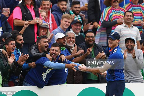 Ben Stokes of England retreives the ball after a spectator took a catch from a six hit by Sarfaraz Ahmed of Pakistan during the 5th Royal London...