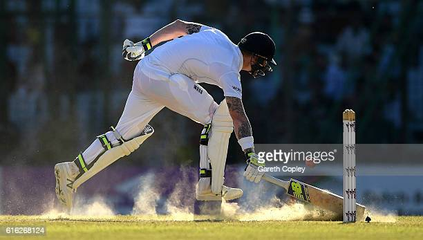Ben Stokes of England runs his bat in during the 3rd day of the 1st Test match between Bangladesh and England at Zohur Ahmed Chowdhury Stadium on...
