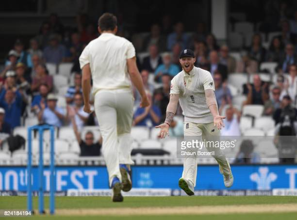 Ben Stokes of England runs to congratulate teammate Toby RolandJones on his fifth wicket during day three of the 3rd Investec Test match between...