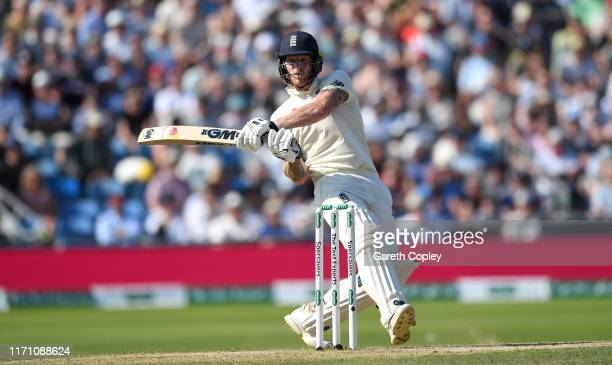 Ben Stokes of England scoops the ball during day four of the 3rd Specsavers Ashes Test match between England and Australia at Headingley on August...