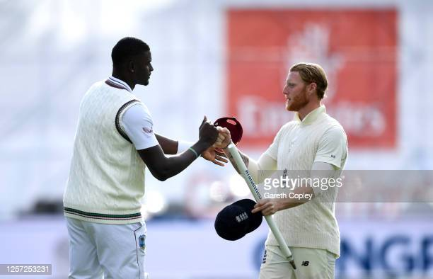 Ben Stokes of England shakes hands with Jason Holder of West Indies after victory on Day Five of the 2nd Test Match in the #RaiseTheBat Series...