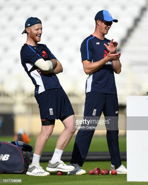 Ben Stokes of England shares a joke with Keaton Jennings during a nets session at Trent Bridge on August 16 2018 in Nottingham England