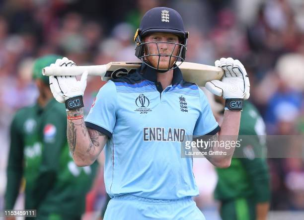 Ben Stokes of England shows his dissapointment after being caught by Sarafaz Ahmed of Pakistan during the Group Stage match of the ICC Cricket World...