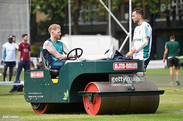 Ben Stokes of England speaks with Alex Hales during a nets session ahead of the 1st Investec Test match between England and Sri Lanka at Lord's...