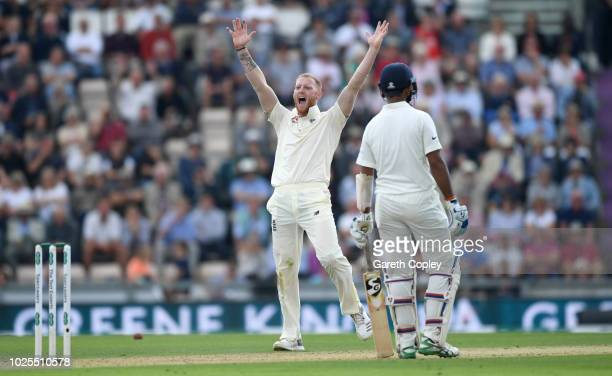 Ben Stokes of England successfully appeals for the wicket of Ajinkya Rahane of India during day two of the Specsavers 4th Test match between England...
