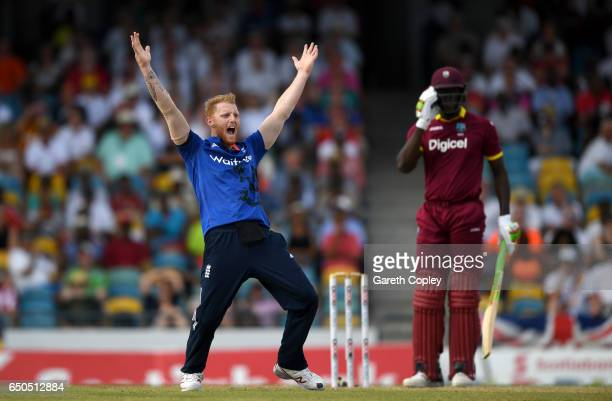 Ben Stokes of England successfully appeals for the wicket of Carlos Brathwaite of the West Inides during the 3rd One Day International between the...