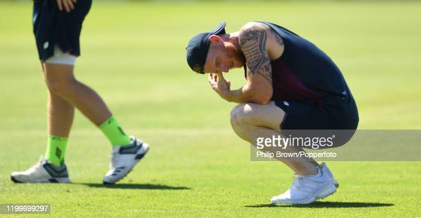 Ben Stokes of England takes a break during a training session at St George's Park before the third Test Match between England and South Africa on...