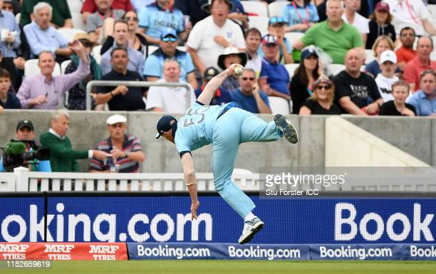 Ben Stokes of England takes a catch to dismiss Andile Phehlukwayo of South Africa during the Group Stage match of the ICC Cricket World Cup 2019...