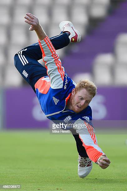 Ben Stokes of England takes a spectacular one handed catch during an England training session at Ageas Bowl on September 2 2015 in Southampton England