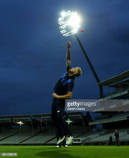 Ben Stokes of England takes part in a fielding drill during a nets session at Edgbaston on August 14 2017 in Birmingham England