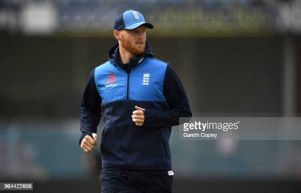 Ben Stokes of England takes part in a fitness test ahead a nets session at Headingley on May 31 2018 in Leeds England