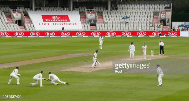Ben Stokes of England takes the catch of Babar Azam of Pakistan watched on by Joe Root and Jos Buttler of England during Day Three of the 1st...