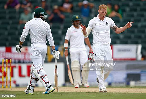 Ben Stokes of England takes the wicket of Stiaan Van Zyl of South Africa caught by Jonny Bairstow of England during day one of the 3rd Test at...