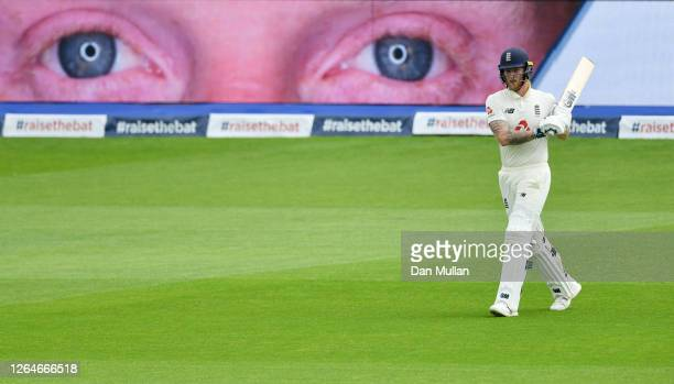 Ben Stokes of England takes to the field during Day Four of the 1st #RaiseTheBat Test Match between England and Pakistan at Emirates Old Trafford on...
