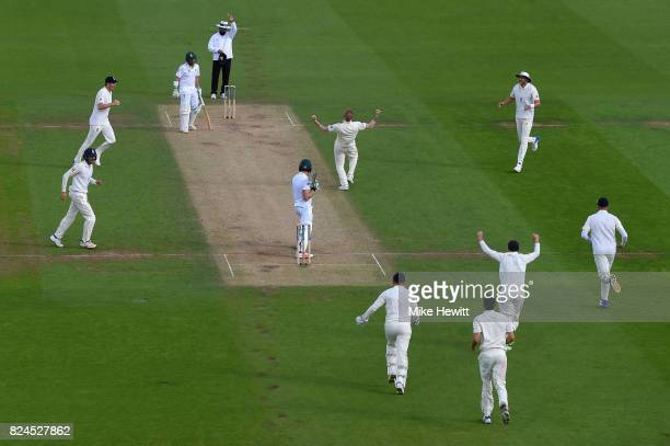 Ben Stokes of England traps Faf Du Plessis of South Africa lbw first ball during Day Four of the 3rd Investec Test between England and South Africa...