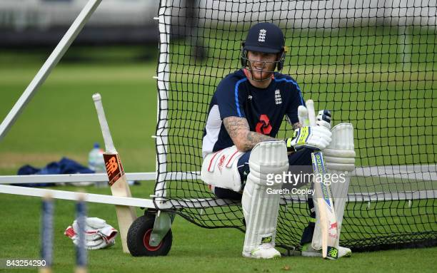 Ben Stokes of England waits to bat during a nets session at Lord's Cricket Ground on September 6 2017 in London England