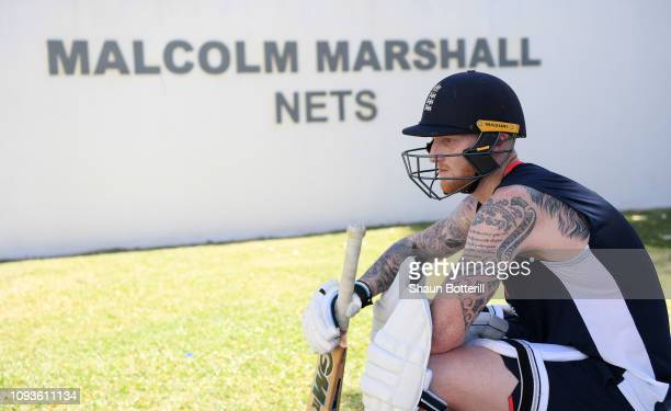 Ben Stokes of England waits to bat during net practice at the Three Ws Oval on January 13 2019 in Bridgetown Barbados