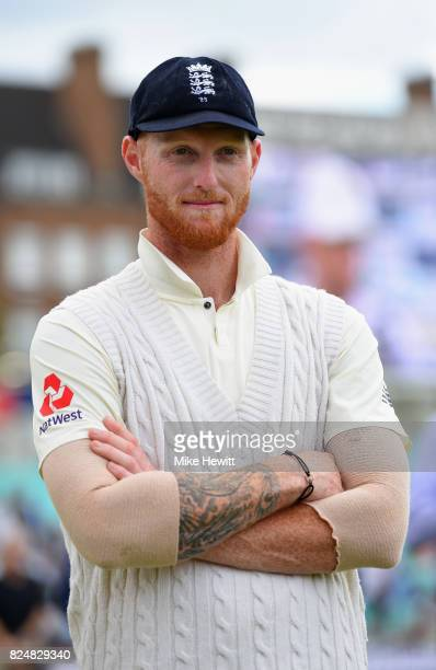 Ben Stokes of England waits to receive the Man of the Match award at the conclusion of the 3rd Investec Test between England and South Africa at The...