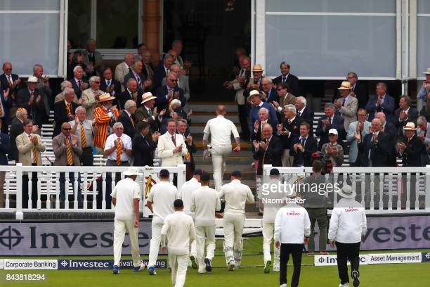 Ben Stokes of England walks back to the pavilion at the end of the England innings during England v West Indies 3rd Investec Test Day One at Lord's...