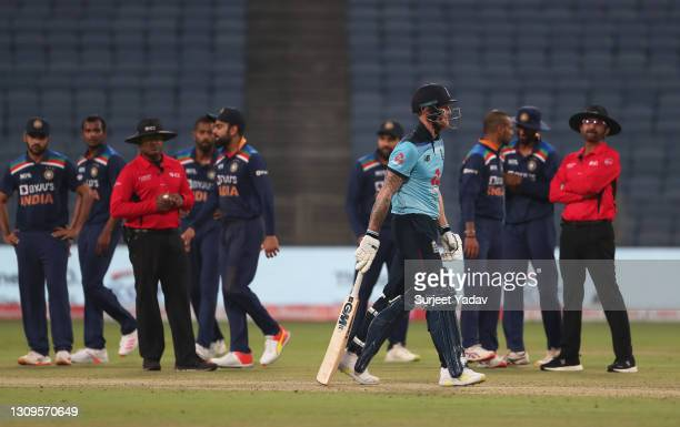 Ben Stokes of England walks off after being dismissed by Thangarasu Natarajan of India during the 3rd One Day International match between India and...