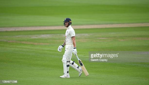 Ben Stokes of England walks off after being dismissed during Day Four of the 1st #RaiseTheBat Test Match between England and Pakistan at Emirates Old...