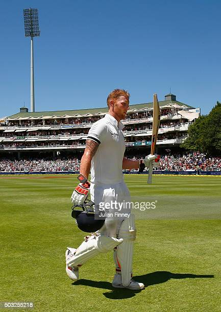 Ben Stokes of England walks off after his 258 runs during day two of the 2nd Test at Newlands Stadium on January 3, 2016 in Cape Town, South Africa.